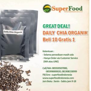 Promo Daily Chia Organik. Beli 10 buah Gratis 1 buah. Hanya Rp. 50.000,–